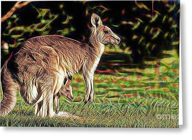 Kangaroo Greeting Cards - Mom and Child Greeting Card by Marvin Blaine