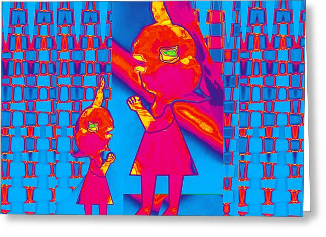 Endorse Greeting Cards - Mommy I have a secret  Flower Girl to Flower Mom.  Flower Abstract Animation Art by Navin Joshi  On  Greeting Card by Navin Joshi