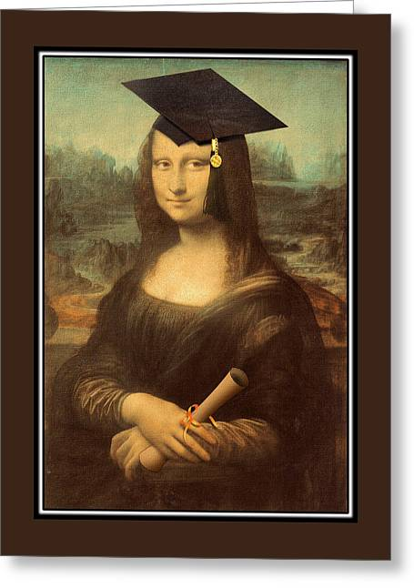 Spoof Greeting Cards - Mona Lisa  Graduation Day Greeting Card by Gravityx9  Designs