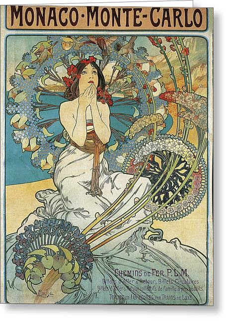 Alphonse Maria Mucha Greeting Cards - Monaco Monte Carlo Greeting Card by Celestial Images