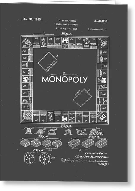 Monopoly Original Patent Art Drawing T-shirt Greeting Card by Edward Fielding