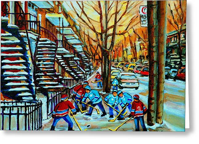 Canada Sports Paintings Greeting Cards - Montreal Hockey Paintings Greeting Card by Carole Spandau