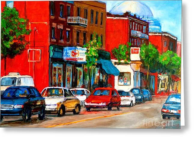 Montreal Paintings Greeting Card by Carole Spandau