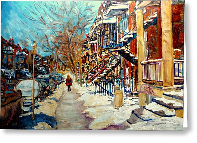 Take-out Greeting Cards - Montreal Street In Winter Greeting Card by Carole Spandau