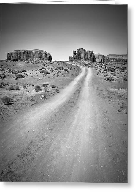 Geologic Greeting Cards - MONUMENT VALLEY DRIVE black and white Greeting Card by Melanie Viola