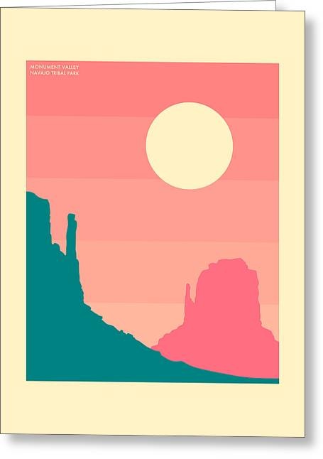Minimalist Landscape Greeting Cards - Monument Valley, Navajo Tribal Park Greeting Card by Jazzberry Blue