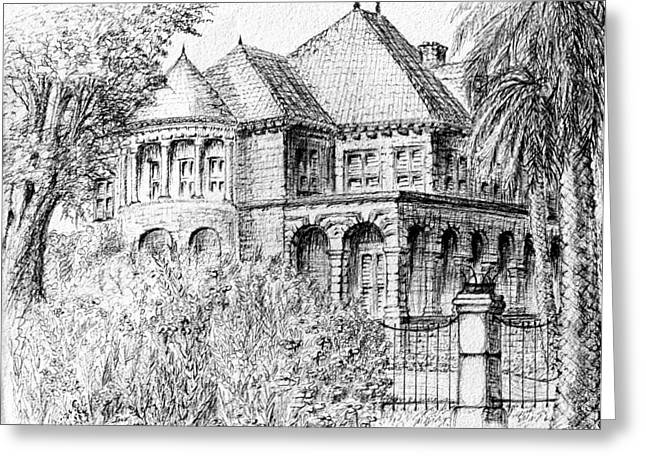 Galveston Greeting Cards - Moody Mansion Greeting Card by Jane Heron