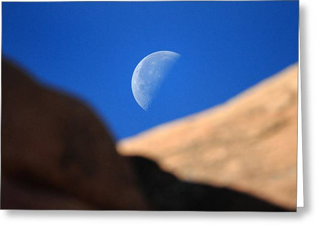 Arches National Park Pine Trees Greeting Cards - Moon in Arches National Park Greeting Card by Pierre Leclerc Photography