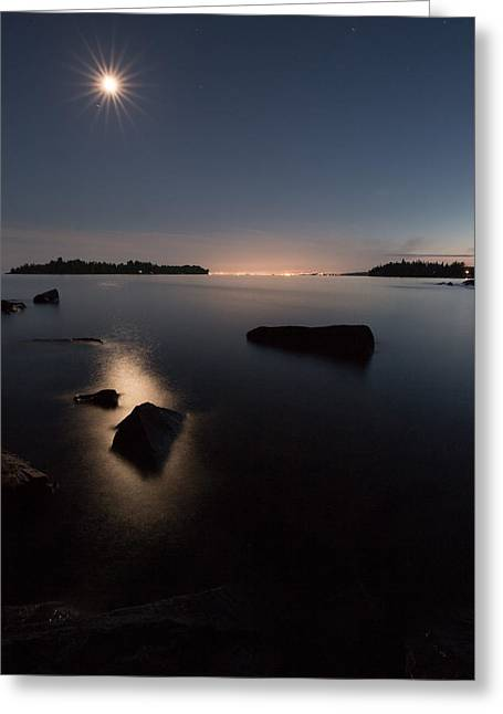 Nature Greeting Cards - Moon over Thunder Bay from Silver Harbour Greeting Card by Jakub Sisak