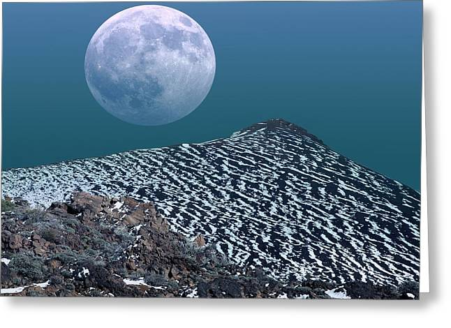 Snowy Night Night Greeting Cards - Moon-rise Over A Volcano Greeting Card by Detlev van Ravenswaay