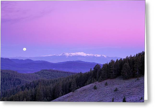 Moon Set Greeting Cards - Moon Set Greeting Card by Leland D Howard