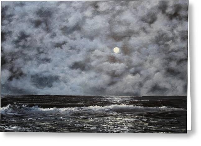 Moon Struck Greeting Card by Ken Ahlering