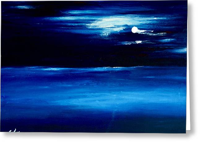 Moon Beach Greeting Cards - Moonlight Greeting Card by LeeAnn Alexander