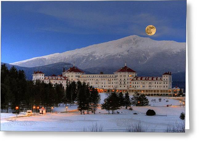 Moonrise Over The Mount Washington Hotel Greeting Card by Ken Stampfer