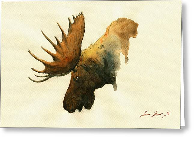 Moose Bull Greeting Cards - Moose Greeting Card by Juan  Bosco