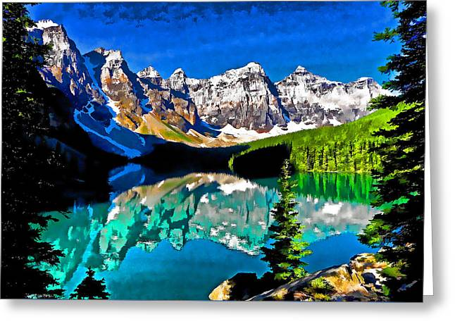 Mountain Valley Greeting Cards - Moraine Lake Greeting Card by Dennis Cox WorldViews