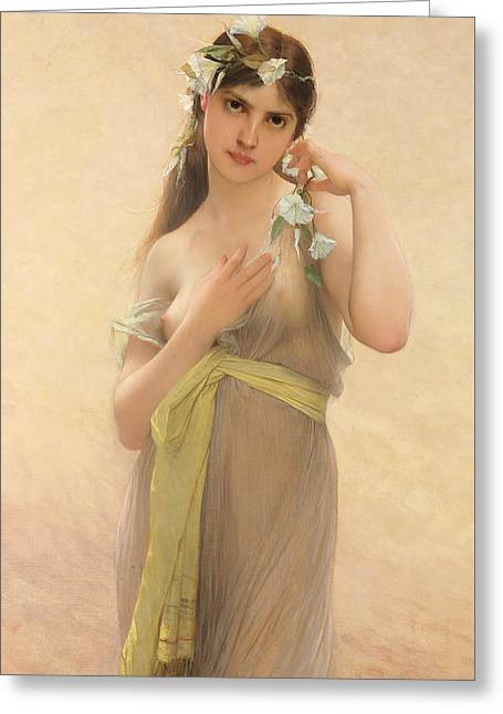 Seductress Greeting Cards - Morning Glory Greeting Card by Jules Joseph Lefebvre