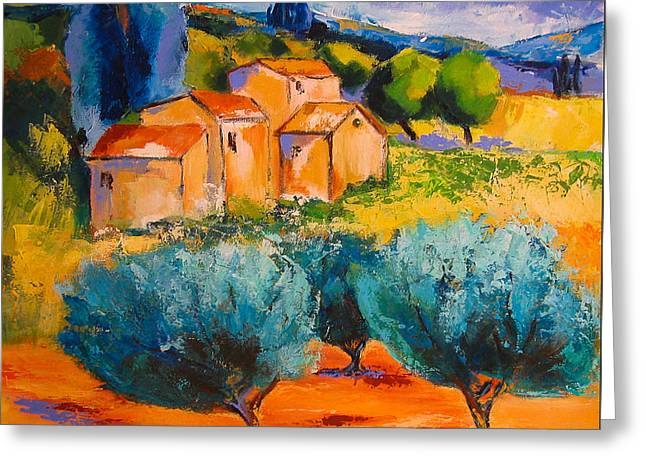 Olive Trees Greeting Cards - Morning Light Greeting Card by Elise Palmigiani