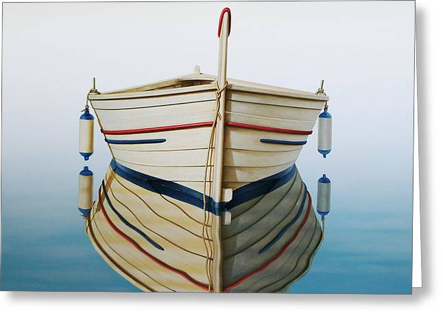 Fishing Boats Greeting Cards - Morning Sun on Prow Greeting Card by Horacio Cardozo