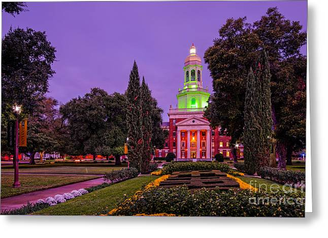 Morning Twilight Shot Of Pat Neff Hall From Founders Mall At Baylor University - Waco Central Texas Greeting Card by Silvio Ligutti