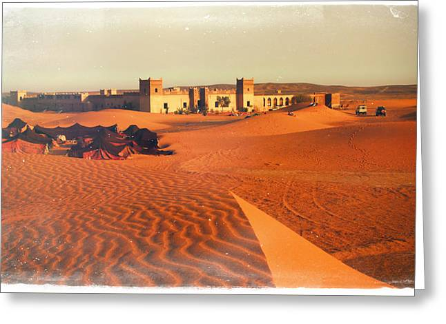 Sand Patterns Greeting Cards - Moroccan Desert Scenery With An Arabian Camp Of Colourful Tents On Glowing Dunes Near To An Ancient  Greeting Card by Jozef Klopacka