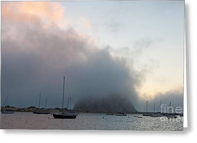 Morro Bay Harbor Image Greeting Cards - Morro Rock Greeting Card by Jason O Watson