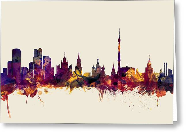 Moscow Russia Skyline Greeting Card by Michael Tompsett