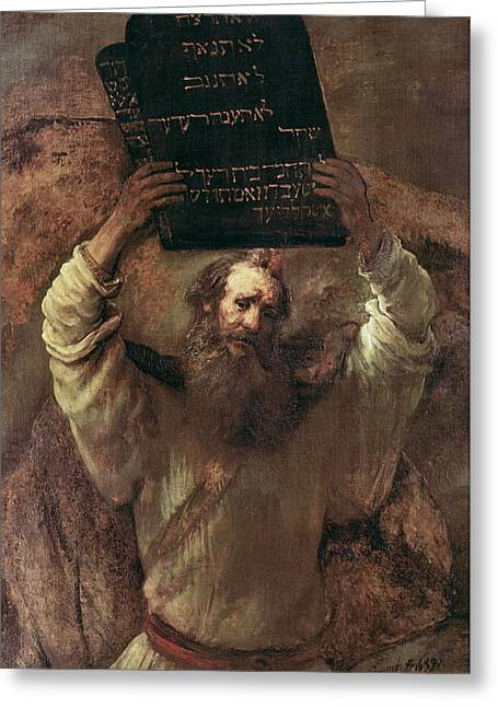 Commandment Greeting Cards - Moses Smashing the Tablets of the Law Greeting Card by Rembrandt