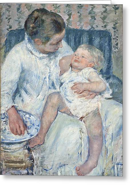 Mary Cassatt Greeting Cards - Mother About to Wash Her Sleepy Child Greeting Card by Celestial Images