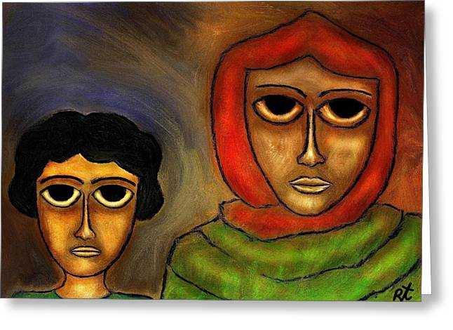 Best Sellers -  - Abstract Digital Drawings Greeting Cards - Mother and Child Greeting Card by Rafi Talby