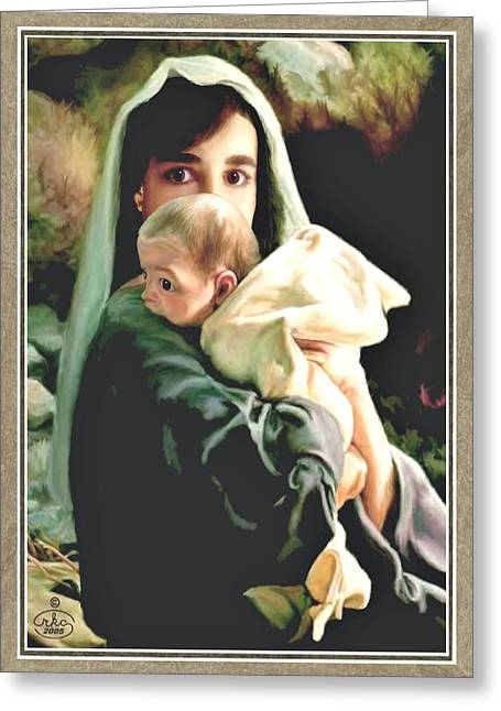 Jesus With A Child Greeting Cards - Mother and Child Greeting Card by Ronald Chambers