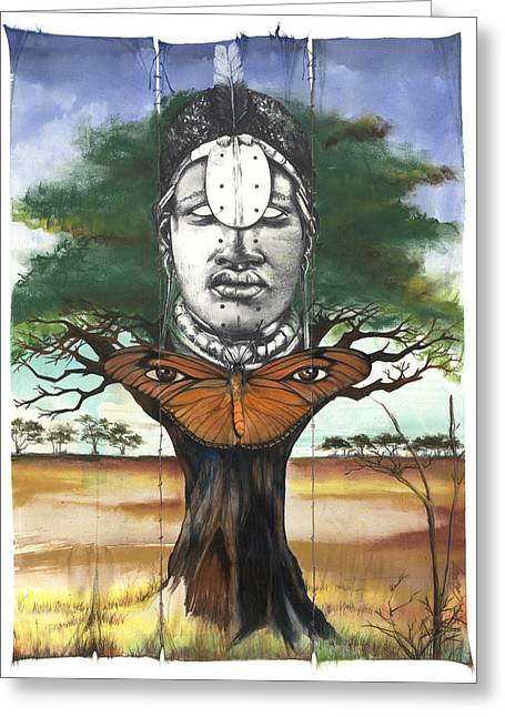 African-american Mixed Media Greeting Cards - Mother Nature V Greeting Card by Anthony Burks Sr