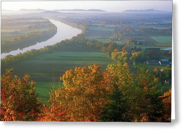 Deerfield River Greeting Cards - Mount Sugarloaf Autumn Morning Greeting Card by John Burk