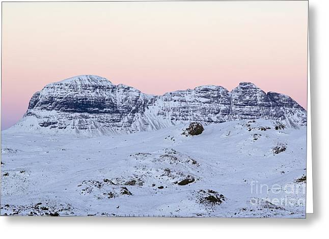 Snowy Night Night Greeting Cards - Mount Suilven In Winter Greeting Card by Duncan Shaw