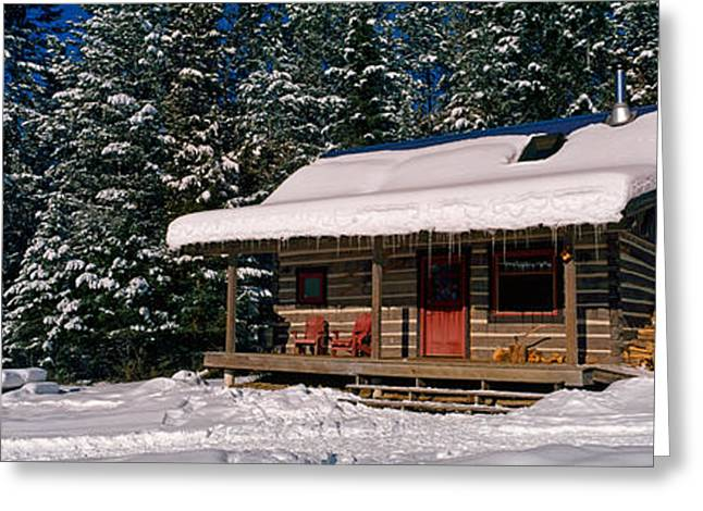 Mountain Cabin Greeting Cards - Mountain Cabin And Snow Covered Forest Greeting Card by Panoramic Images