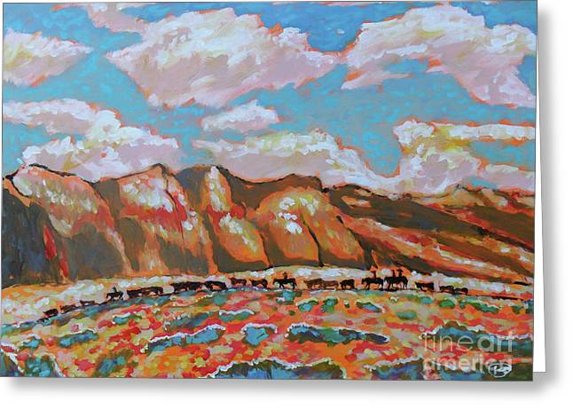 Moving The Herd Greeting Card by Kip Decker