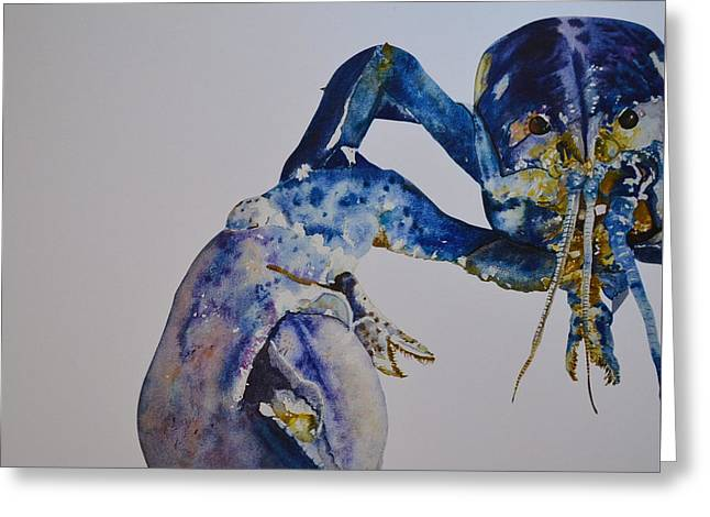 Recently Sold -  - Coastal Maine Greeting Cards - Mr. Blue Lobster Greeting Card by Kellie Chasse