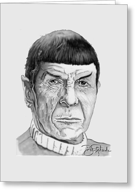 Spock Drawings Greeting Cards - Mr Spock Greeting Card by Bill Richards
