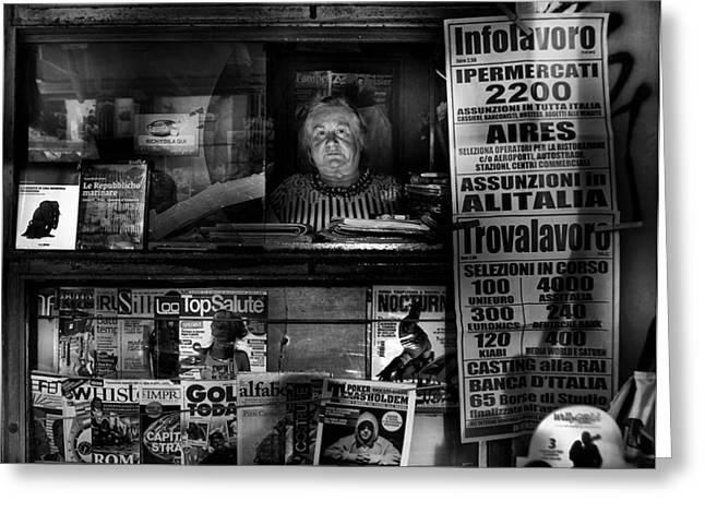 Newspaper Greeting Cards - Mrs. Maria Greeting Card by Antonio Grambone