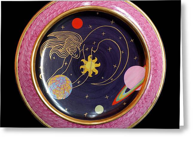 Surrealism Ceramics Greeting Cards - Ms. the Universe. Greeting Card by Vladimir Shipelyov