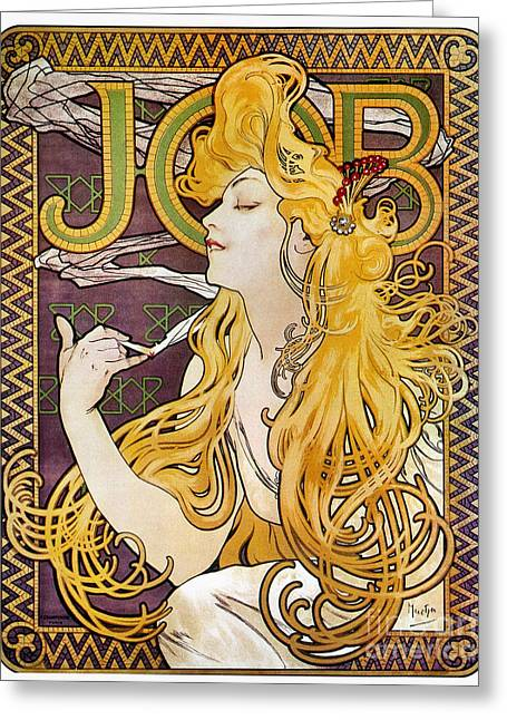 Posters Of Women Photographs Greeting Cards - Mucha: Cigarette Papers Greeting Card by Granger