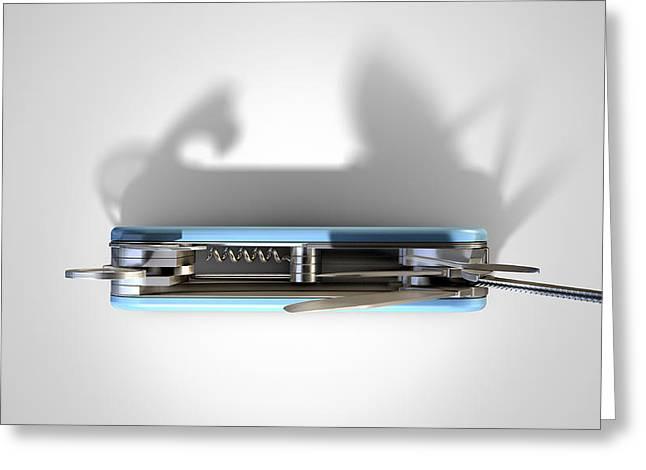 Multipurpose Penknife Greeting Card by Allan Swart