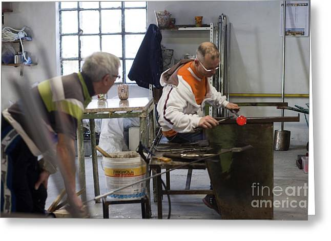 Outfit Greeting Cards - Murano Glass Workers Greeting Card by Andre Goncalves