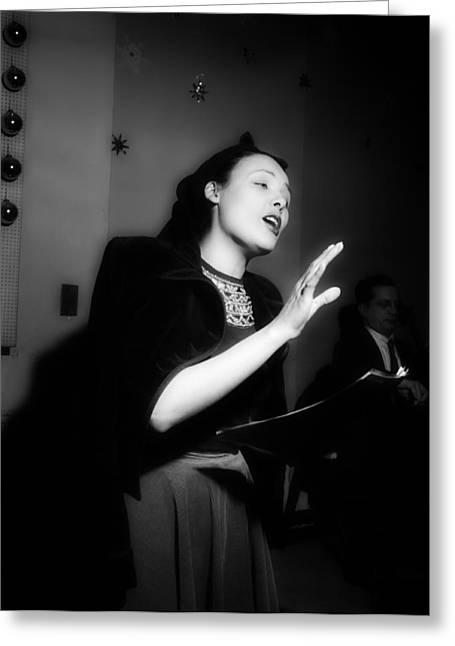 Horne Greeting Cards - Musics Golden Era - Lena Horne 1947 Greeting Card by William Gottlieb