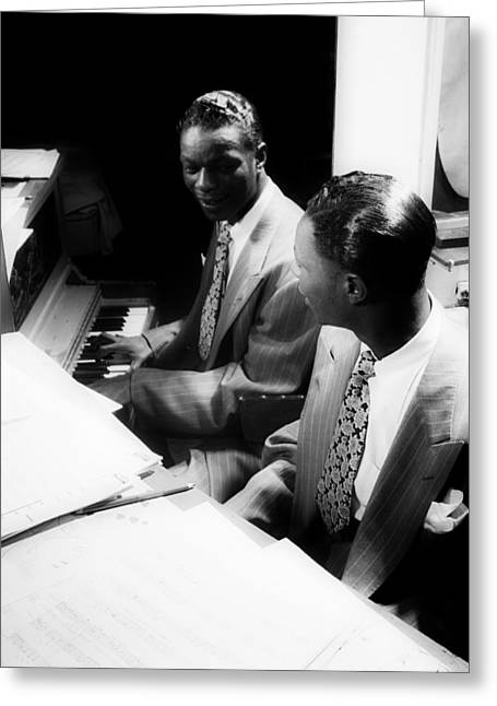 Music's Golden Era - Nat King Cole 1947 Greeting Card by Mountain Dreams