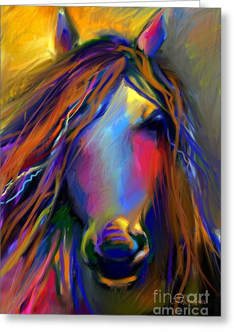 Contemporary Equine Greeting Cards - Mustang horse painting Greeting Card by Svetlana Novikova