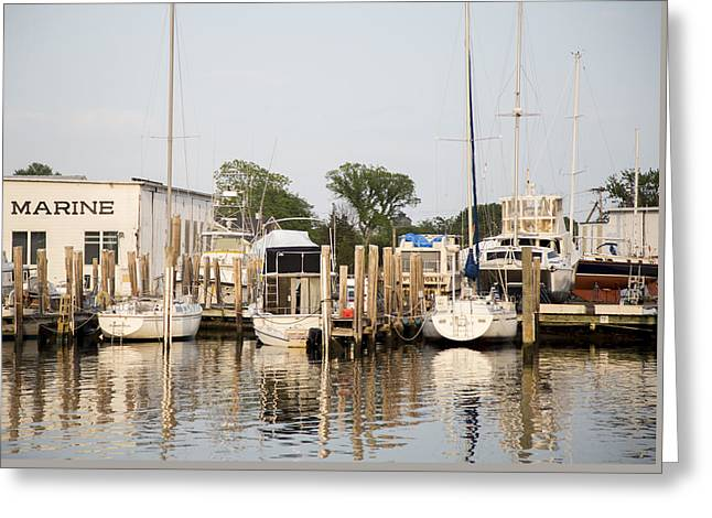 Docked Sailboats Greeting Cards - Mystic River Mystic Connecticut Greeting Card by Jaryd Goyette