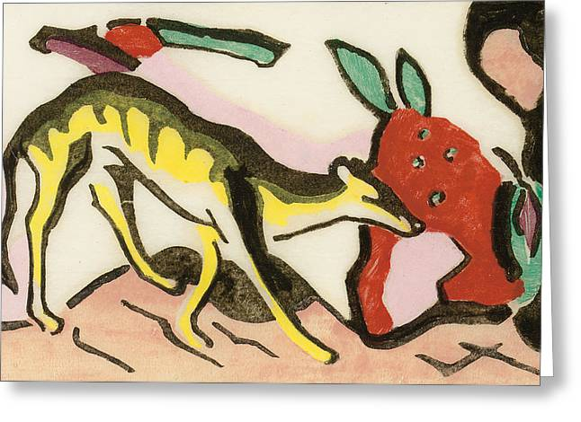 Yellow Dog Drawings Greeting Cards - Mythical animal Greeting Card by Franz Marc