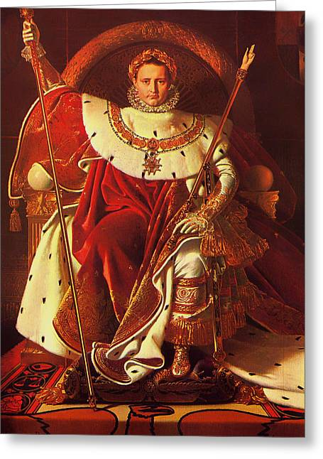 Scepter Greeting Cards - Napoleon I on His Imperial Throne Greeting Card by Jean Auguste Dominique Ingres