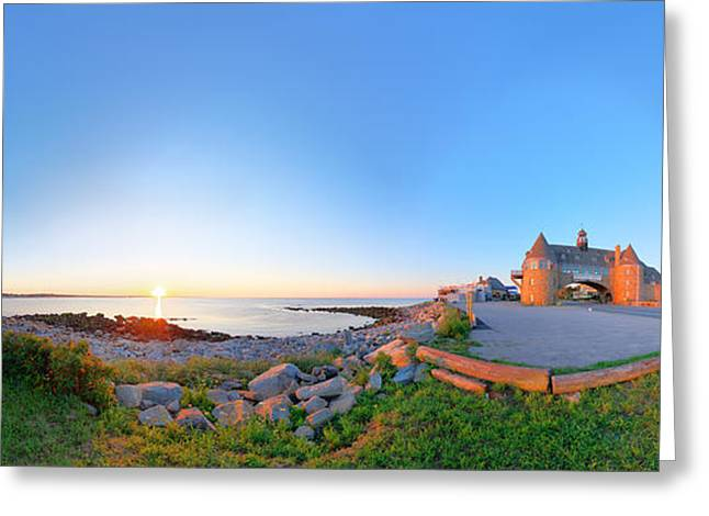 New England Ocean Greeting Cards - Narragansett Towers Greeting Card by Christopher Blake